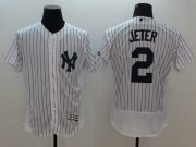 Wholesale Cheap Yankees #2 Derek Jeter White Strip Flexbase Authentic Collection Name On Back Stitched MLB Jersey