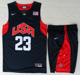 Wholesale Cheap USA Basketball #23 Kyrie Irving Blue Jersey & Shorts Suit