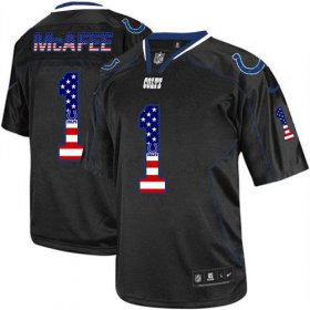 Wholesale Cheap Nike Colts #1 Pat McAfee Black Men\'s Stitched NFL Elite USA Flag Fashion Jersey