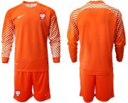 Wholesale Cheap Poland Blank Orange Goalkeeper Long Sleeves Soccer Country Jersey
