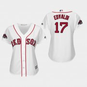 Wholesale Cheap Red Sox #17 Nathan Eovaldi White Home 2018 World Series Champions Women's Stitched MLB Jersey