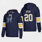 Wholesale Cheap St. Louis Blues #20 Alexander Steen Blue adidas Lace-Up Pullover Hoodie
