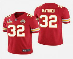 Wholesale Cheap Men\'s Kansas City Chiefs #32 Tyrann Mathieu Red 2021 Super Bowl LV Vapor Untouchable Stitched Nike Limited NFL Jersey