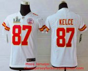 Wholesale Cheap Youth Kansas City Chiefs #87 Travis Kelce White 2021 Super Bowl LV Vapor Untouchable Stitched Nike Limited NFL Jersey