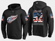 Wholesale Cheap Red Wings #52 Jonathan Ericsson NHL Banner Wave Usa Flag Black Hoodie