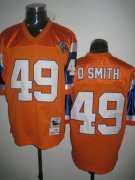 Wholesale Cheap Mitchel & Ness Broncos #49 Dennis Smith Orange Stitched Throwback NFL Jersey