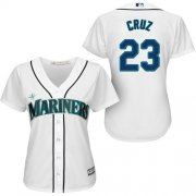 Wholesale Cheap Mariners #23 Nelson Cruz White Home Women's Stitched MLB Jersey