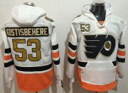 Wholesale Cheap Flyers #53 Shayne Gostisbehere White 3rd Name & Number Pullover NHL Hoodie