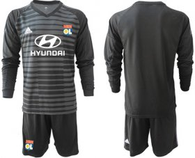 Wholesale Cheap Lyon Blank Black Goalkeeper Long Sleeves Soccer Club Jersey