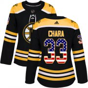 Wholesale Cheap Adidas Bruins #33 Zdeno Chara Black Home Authentic USA Flag Women's Stitched NHL Jersey