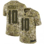 Wholesale Cheap Nike Chargers #10 Justin Herbert Camo Youth Stitched NFL Limited 2018 Salute To Service Jersey