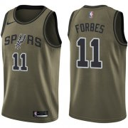 Wholesale Cheap Men's Nike San Antonio Spurs #11 Bryn Forbes Green Basketball Swingman Salute to Service Jersey