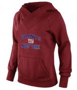 Wholesale Cheap Women's New York Giants Heart & Soul Pullover Hoodie Red