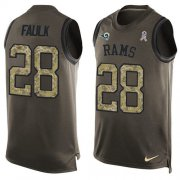 Wholesale Cheap Nike Rams #28 Marshall Faulk Green Men's Stitched NFL Limited Salute To Service Tank Top Jersey