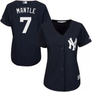 Wholesale Cheap Yankees #7 Mickey Mantle Navy Blue Alternate Women's Stitched MLB Jersey