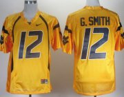 Wholesale Cheap West Virginia Mountaineers #12 Geno Smith Yellow Jersey