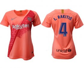 Wholesale Cheap Women\'s Barcelona #4 I.Rakitic Third Soccer Club Jersey