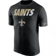 Wholesale Cheap Men's New Orleans Saints Nike Black Legend Staff Practice Performance T-Shirt