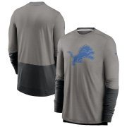 Wholesale Cheap Detroit Lions Nike Sideline Player Performance Long Sleeve T-Shirt Heathered Gray Black
