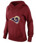 Wholesale Cheap Women's Los Angeles Rams Logo Pullover Hoodie Red-1
