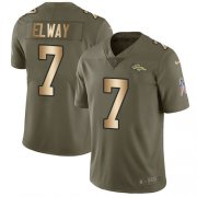 Wholesale Cheap Nike Broncos #7 John Elway Olive/Gold Youth Stitched NFL Limited 2017 Salute to Service Jersey