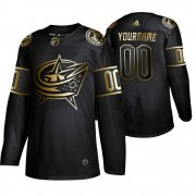 Wholesale Cheap Adidas Blue Jackets Custom Men's 2019 Black Golden Edition Authentic Stitched NHL Jersey