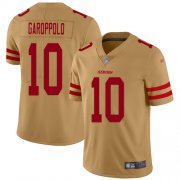 Wholesale Cheap Nike 49ers #10 Jimmy Garoppolo Gold Men's Stitched NFL Limited Inverted Legend Jersey