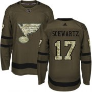 Wholesale Cheap Adidas Blues #17 Jaden Schwartz Green Salute to Service Stitched Youth NHL Jersey