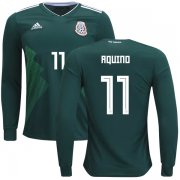 Wholesale Cheap Mexico #11 Aquino Home Long Sleeves Kid Soccer Country Jersey