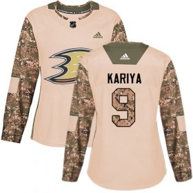 Wholesale Cheap Adidas Ducks #9 Paul Kariya Camo Authentic 2017 Veterans Day Women\'s Stitched NHL Jersey