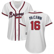 Wholesale Cheap Braves #16 Brian McCann White Home Women's Stitched MLB Jersey