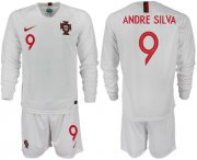 Wholesale Cheap Portugal #9 Andre Silva Away Long Sleeves Soccer Country Jersey