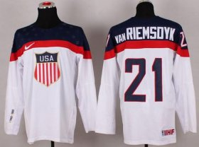 Wholesale Cheap 2014 Olympic Team USA #21 James van Riemsdyk White Stitched NHL Jersey