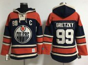 Wholesale Cheap Edmonton Oilers #99 Wayne Gretzky Navy Blue Women's Old Time Lacer NHL Hoodie