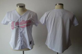 Wholesale Cheap Indians Blank White With Pink No. Women\'s Fashion Stitched MLB Jersey