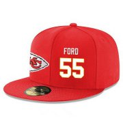 Wholesale Cheap Kansas City Chiefs #55 Dee Ford Snapback Cap NFL Player Red with White Number Stitched Hat