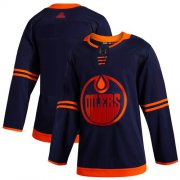 Wholesale Cheap Adidas Oilers Blank Navy Alternate Authentic Stitched NHL Jersey