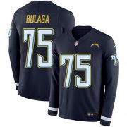 Wholesale Cheap Nike Chargers #75 Bryan Bulaga Navy Blue Team Color Youth Stitched NFL Limited Therma Long Sleeve Jersey