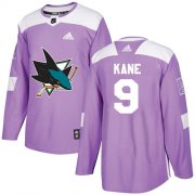 Wholesale Cheap Adidas Sharks #9 Evander Kane Purple Authentic Fights Cancer Stitched Youth NHL Jersey
