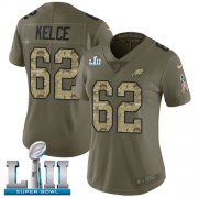 Wholesale Cheap Nike Eagles #62 Jason Kelce Olive/Camo Super Bowl LII Women's Stitched NFL Limited 2017 Salute to Service Jersey