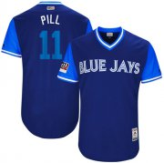 "Wholesale Cheap Blue Jays #11 Kevin Pillar Light Blue ""Pill"" Players Weekend Authentic Stitched MLB Jersey"