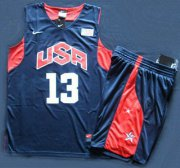 Wholesale Cheap 2012 Olympic USA Team #13 Chris Paul Blue Basketball Jerseys& Shorts Suit