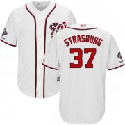 Wholesale Cheap Nationals #37 Stephen Strasburg White Cool Base 2019 World Series Champions Stitched Youth MLB Jersey