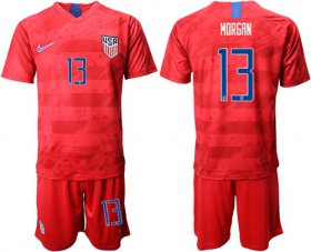 Wholesale Cheap USA #13 Morgan Away Soccer Country Jersey