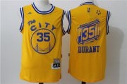 Wholesale Cheap Men's Golden State Warriors #35 Kevin Durant Yellow 2015-16 Retro Revolution 30 Swingman Basketball Jersey