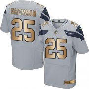 Wholesale Cheap Nike Seahawks #25 Richard Sherman Grey Alternate Men's Stitched NFL Elite Gold Jersey