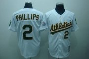 Wholesale Mitchell and Ness Athletics #2 Tony Phillips Stitched White Throwback Baseball Jersey
