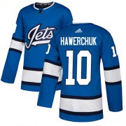 Wholesale Cheap Adidas Jets #10 Dale Hawerchuk Blue Alternate Authentic Stitched NHL Jersey