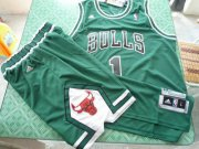 Wholesale Cheap Chicago Bulls 1 Derek Rose white green swingman Basketball Suit