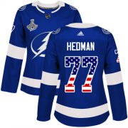 Cheap Adidas Lightning #77 Victor Hedman Blue Home Authentic USA Flag Women's 2020 Stanley Cup Champions Stitched NHL Jersey